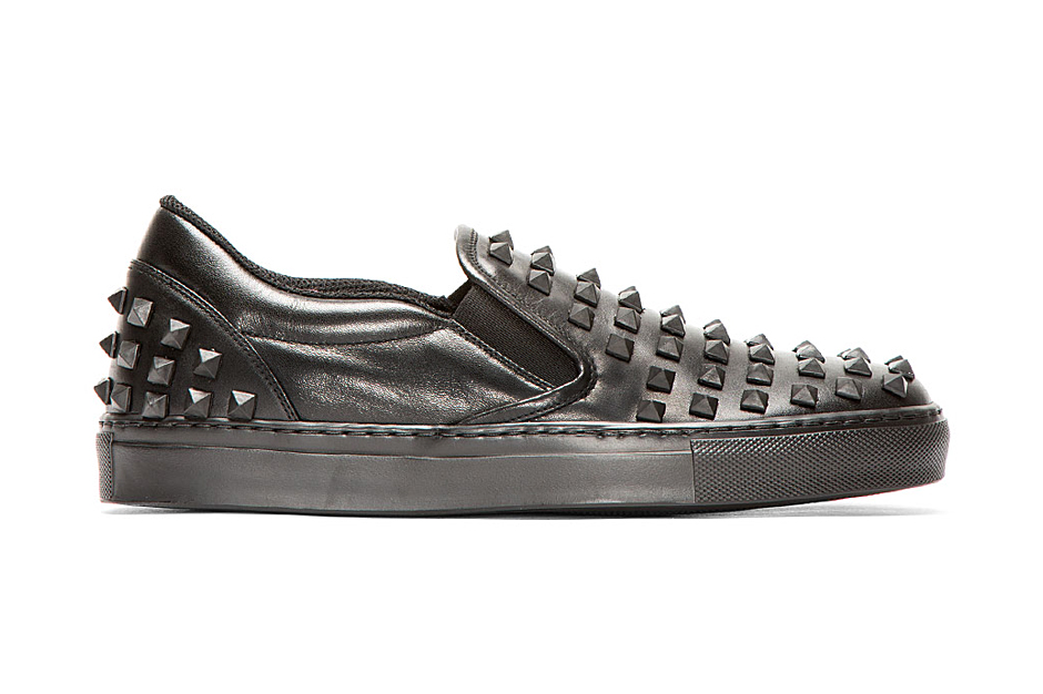Image of Valentino Black Leather Rubber Stud Loafers