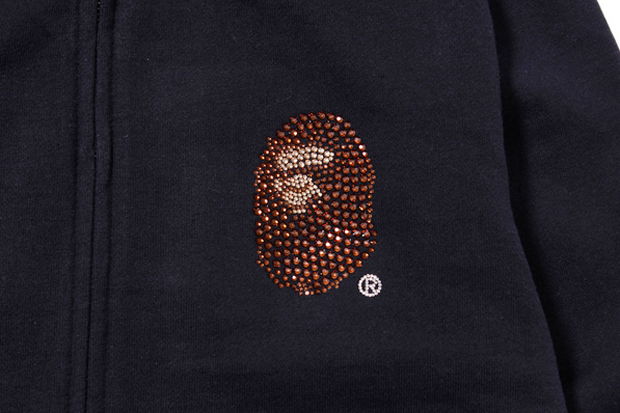 Image of A Bathing Ape Swarovski LARGE HEAD FULL ZIP HOODIE