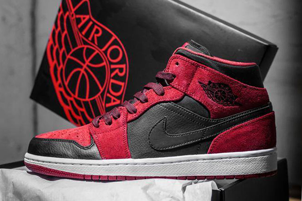 Image of Air Jordan 1 Mid Red Suede/Black
