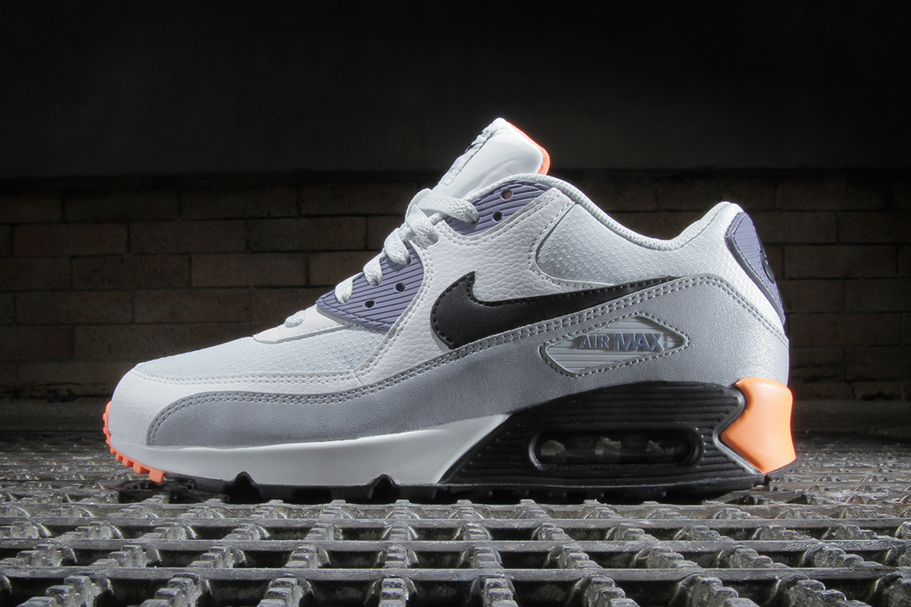 Image of Nike Air Max 90 Essential Light Base Grey / Black–Iron Purple–Atomic Orange