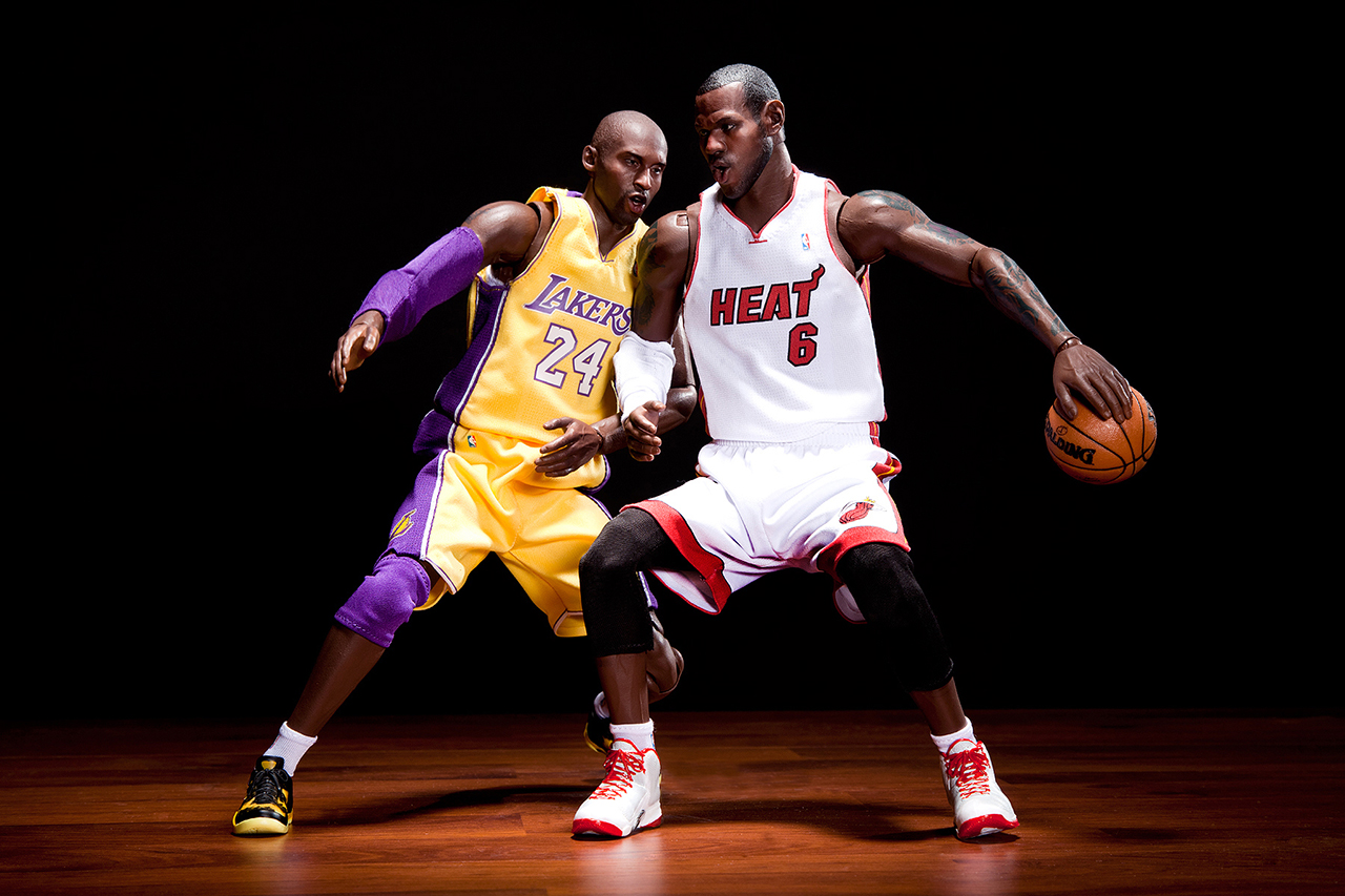Image of ENTERBAY Real Masterpiece NBA Collection - Kobe Bryant and LeBron James