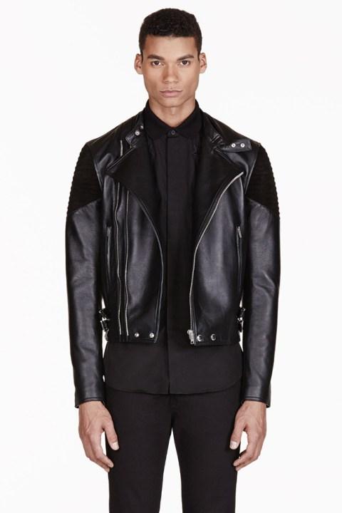 Image of Givenchy Black Ribbed Leather Biker Jacket