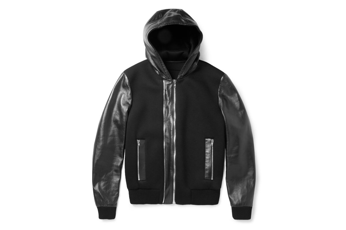 Image of Givenchy Leather and Neoprene Bomber Jacket