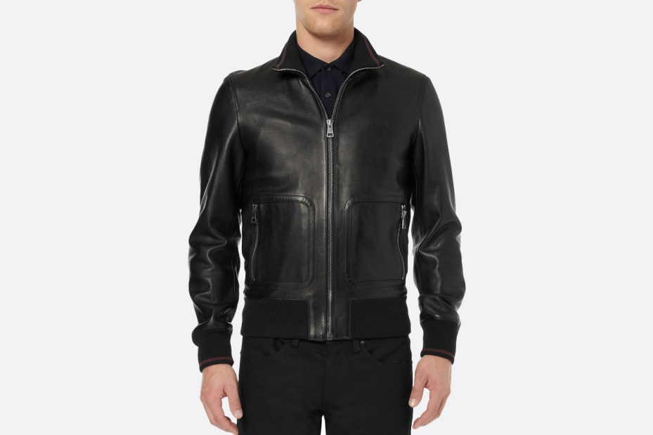 Image of Gucci Nappa Leather and Web Trimmed Bomber Jacket