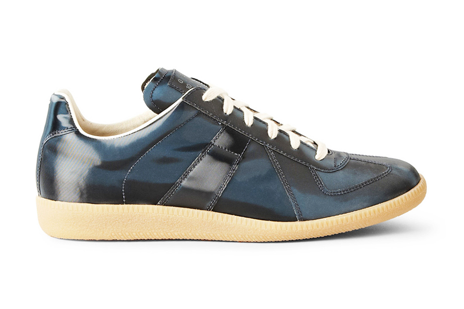 Image of Maison Martin Margiela Navy Metallic Leather Replica Sneakers