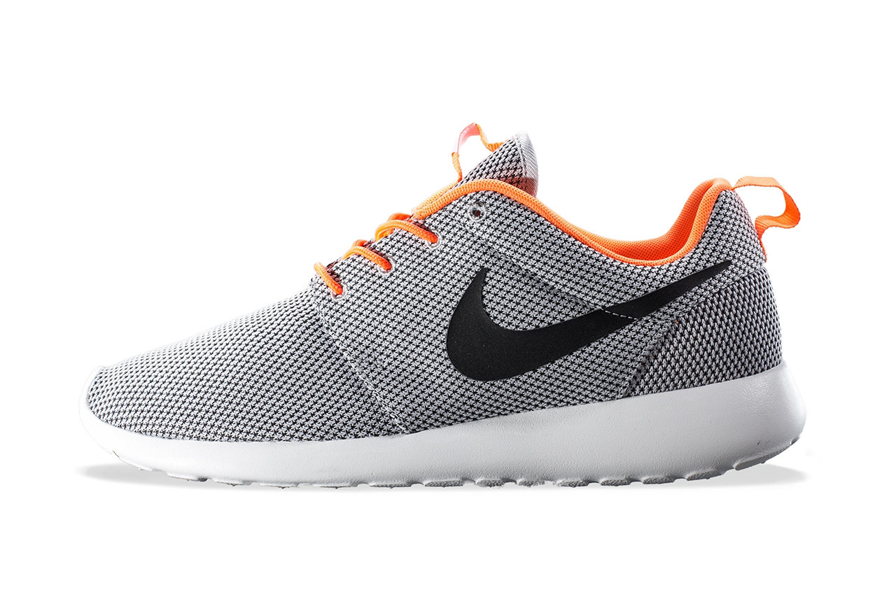 Image of Nike Roshe Run Wolf Grey/Black-Atomic Orange