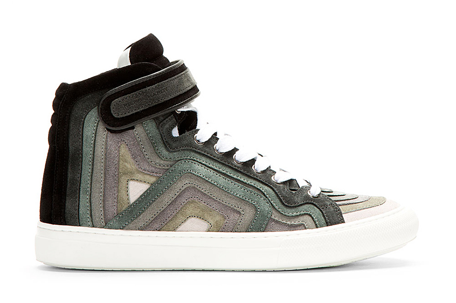 Image of Pierre Hardy Grey Rainbow Banded High-Top Sneakers
