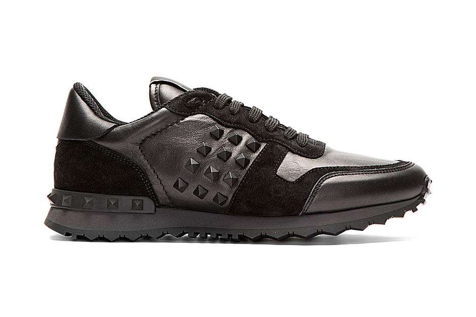 Image of Valentino Black Leather and Suede Studded Sneakers