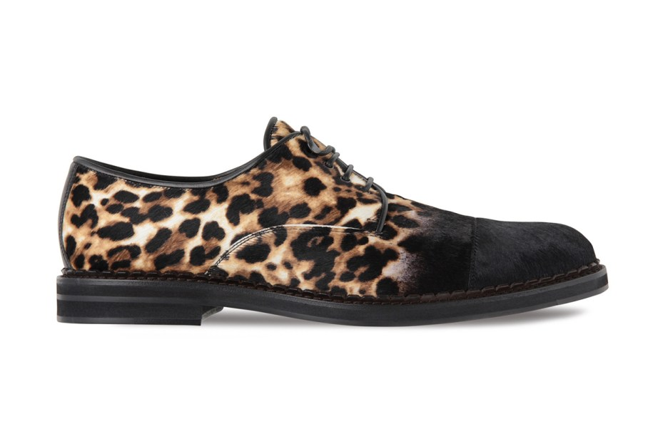 Image of Jimmy Choo Pony-Haired Leopard Lace-Ups