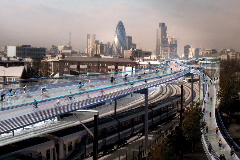 Image of Norman Foster Proposes 220km Elevated Bike Path in London