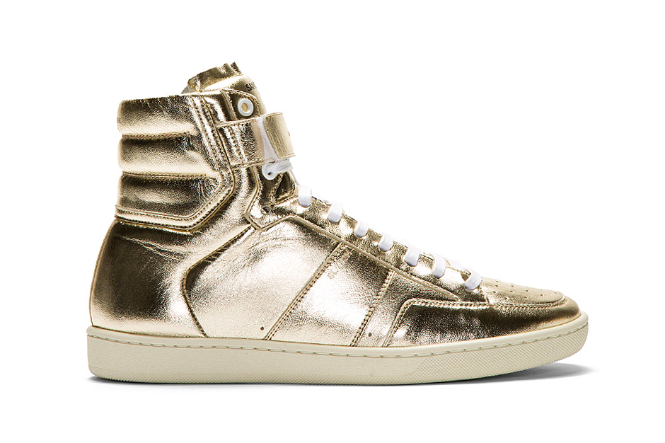 Image of Saint Laurent Gold Lamé Leather High-Top Sneaker