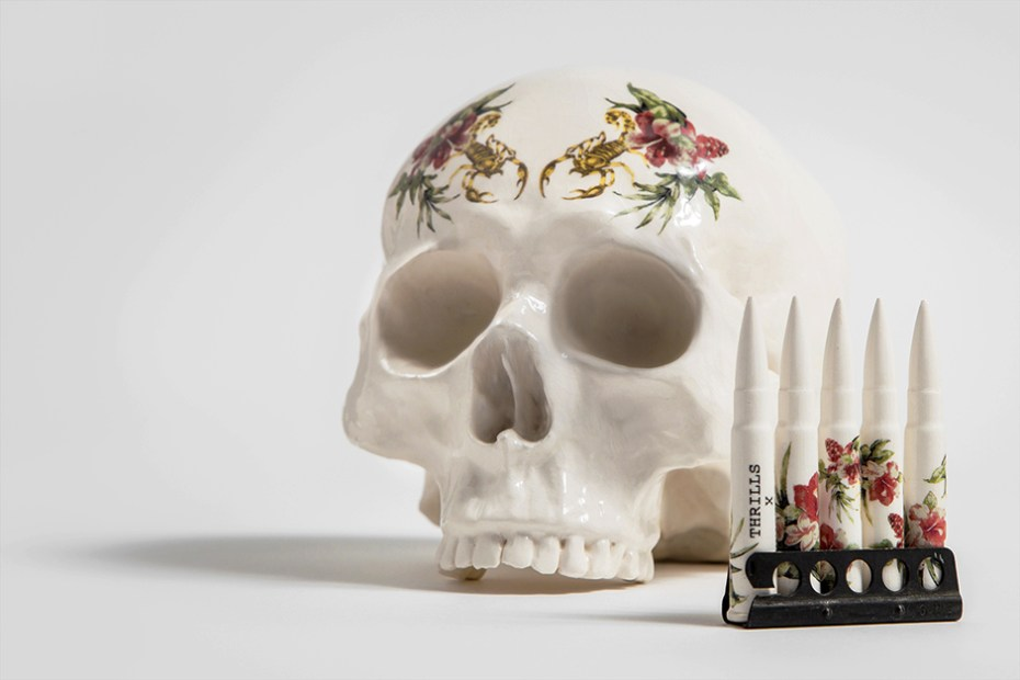 "Image of THRILLS x Dan Elborne ""Skull & Bullets"" Porcelain Sculptures"