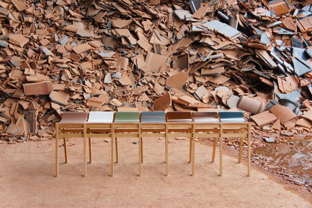 Image of Tsuyoshi Hayashi Recycled Roof Tile Stools and Benches