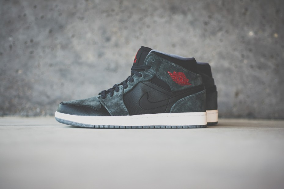 Image of Air Jordan 1 Mid Black/Charcoal Suede