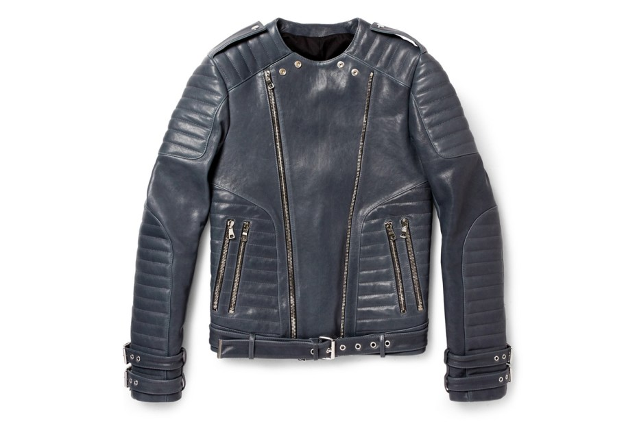 Image of Balmain Leather Biker Jacket