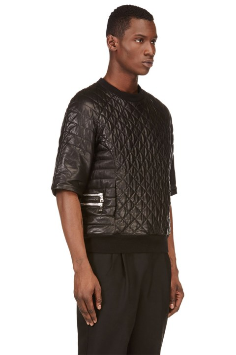 Image of Balmain Black Short-Sleeve Quilted Leather Top