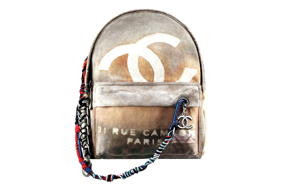 Image of Chanel Printed Leather & Toile Backpack