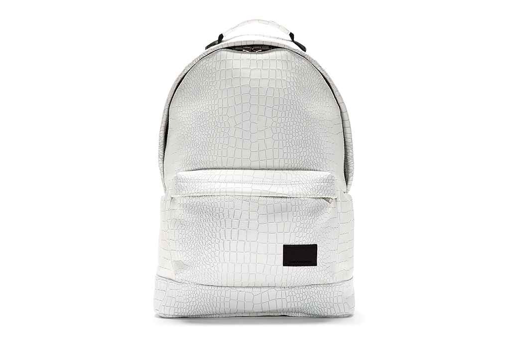 Image of KRISVANASSCHE White Etched Croc Pattern Backpack