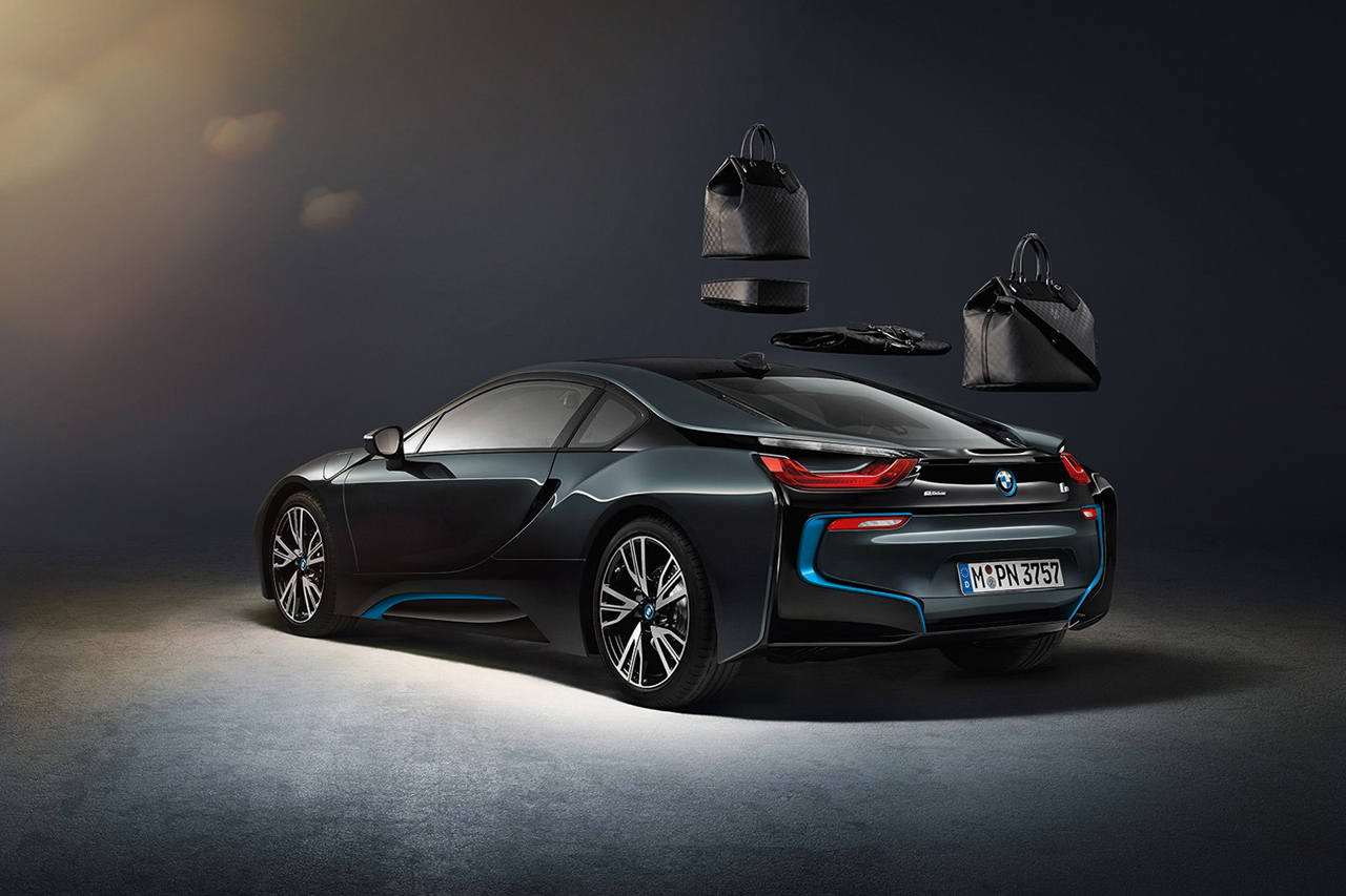 Image of Louis Vuitton's Custom Carbon Fiber Luggage for the BMW i8