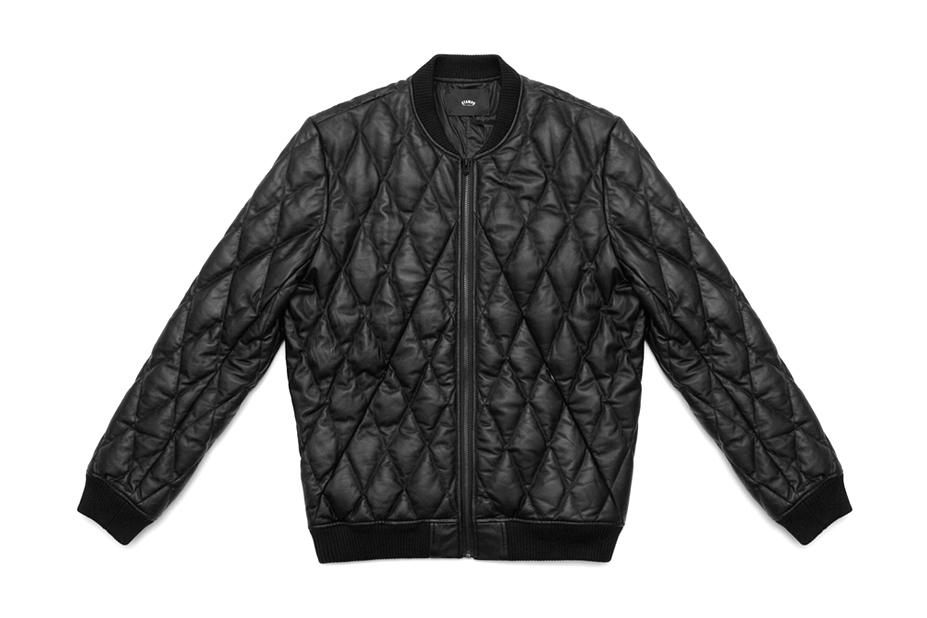 Image of Stampd Black Diamond Quilted Leather Bomber Jacket
