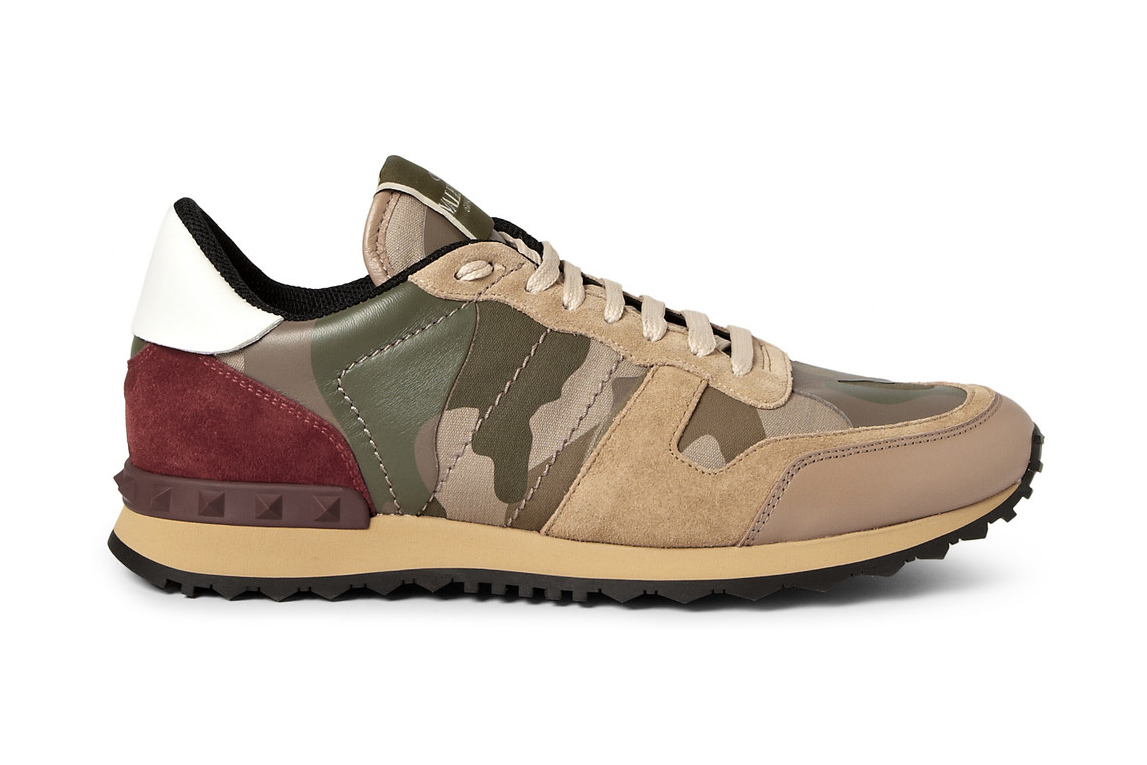 Image of Valentino Panelled Leather and Suede Camouflage Sneakers
