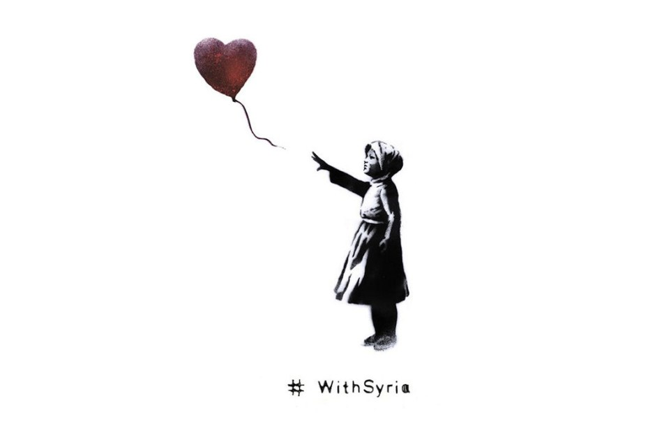 Image of Banksy Teams Up with World Organizations for #WithSyria Campaign