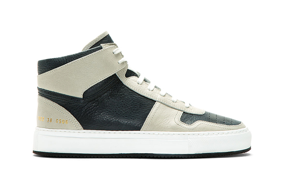 Image of Common Projects Grey & Navy Leather Basketball Sneakers for SSENSE