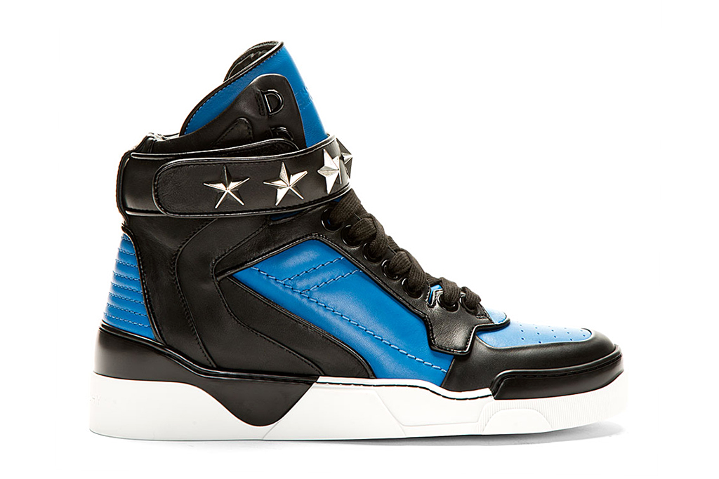Image of Givenchy Blue & Black Leather High-Top Sneakers