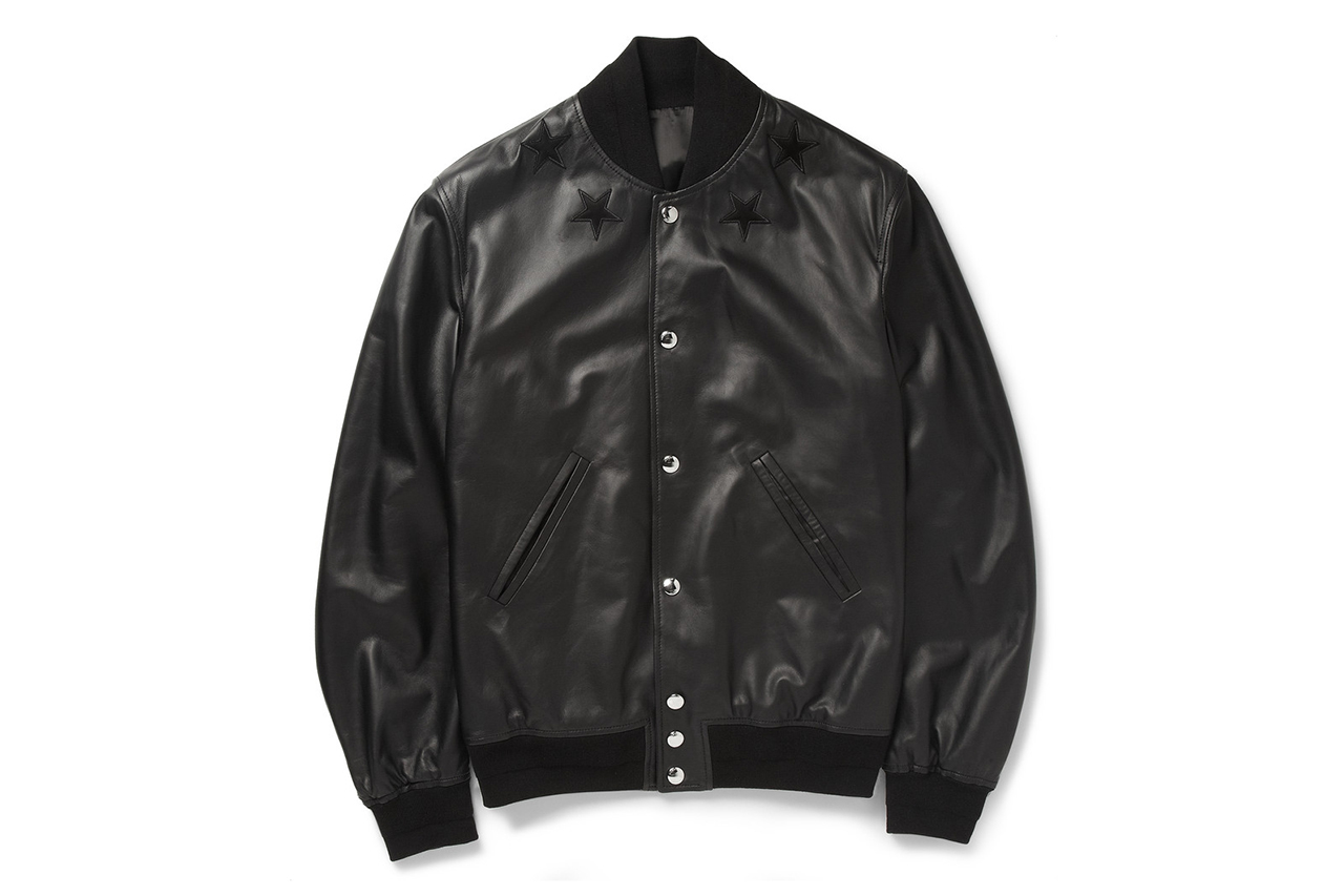 Image of Givenchy Black Leather Embroidered Star Baseball Jacket