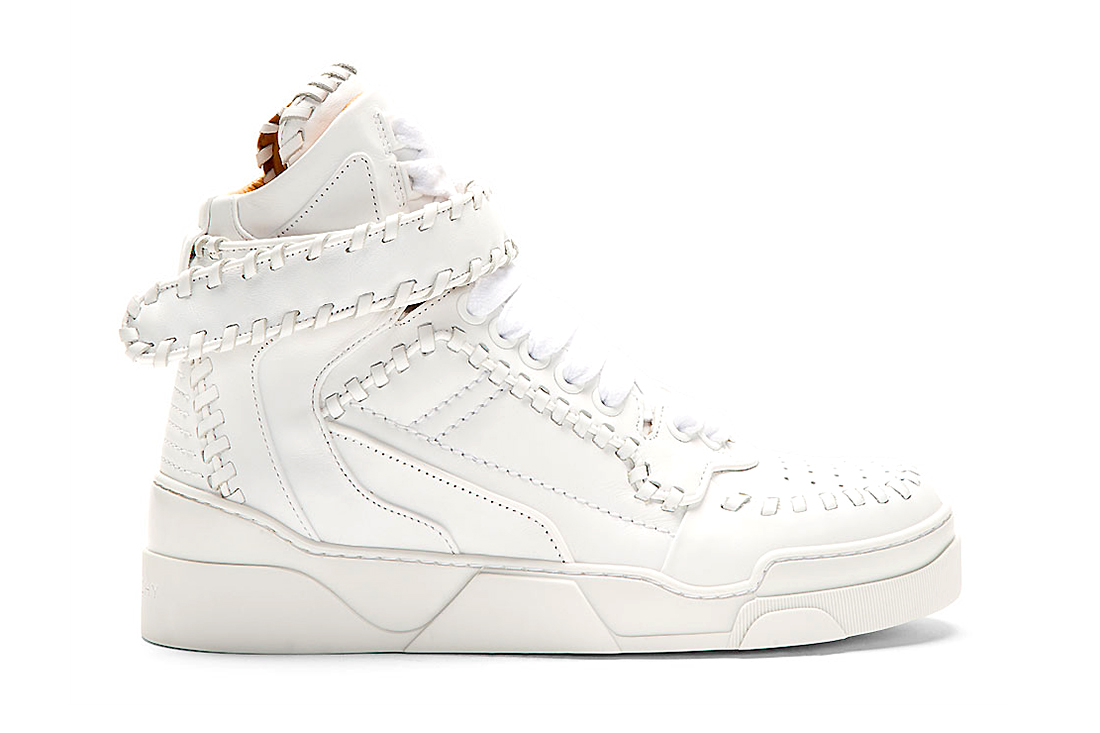 Image of Givenchy White Leather Baseball Stitch High-Top Sneakers