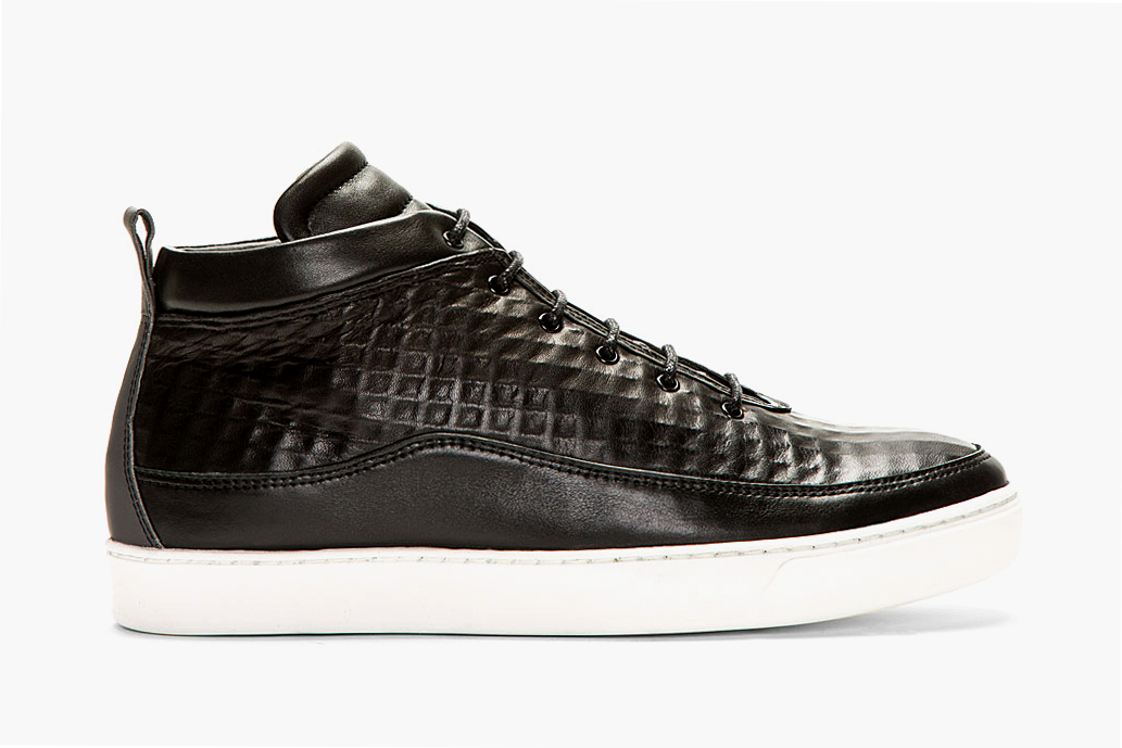 Image of Public School Black Textured Leather Mid-Top Sneakers SSENSE Exclusive