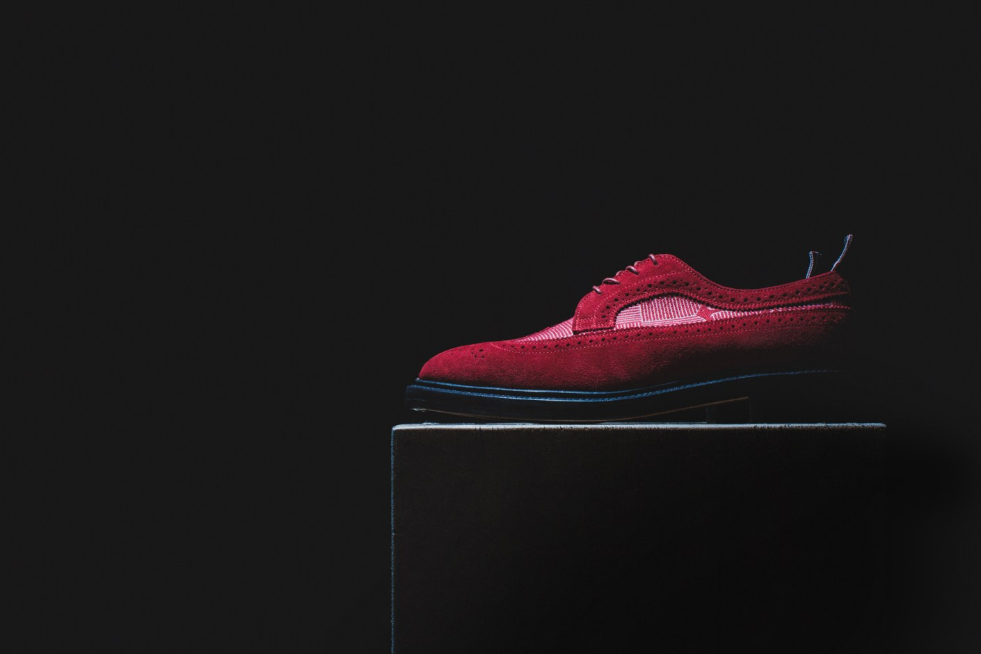 Image of Thom Browne Long Wing Shoe Red Suede and Red Anchor Cotton Stamp Jacqaurd