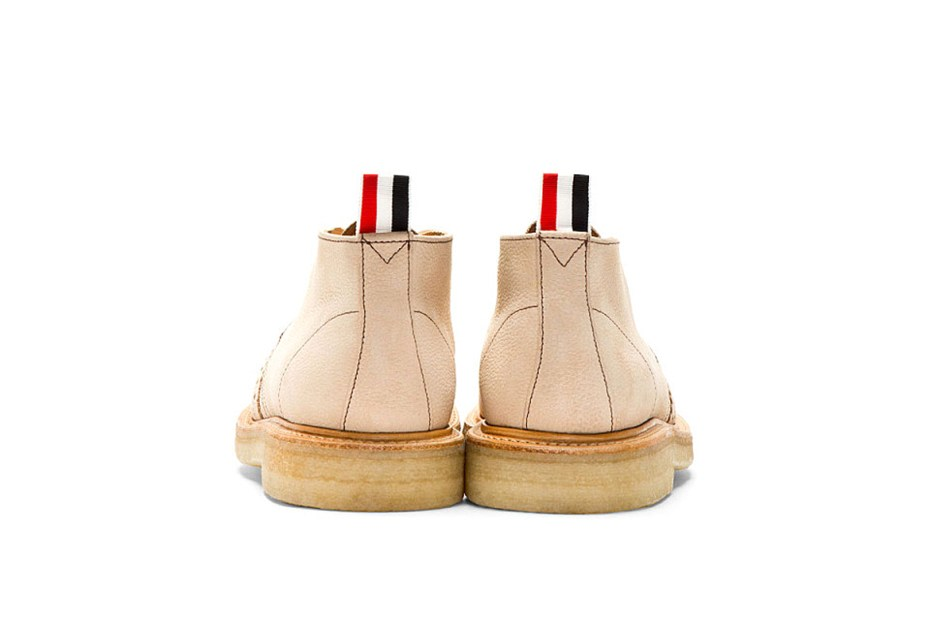 Image of Thom Browne Tan Leather Brogued Desert Boots