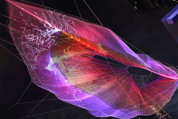Image of Google Chrome Textile Sculpture by Janet Echelman and Aaron Koblin