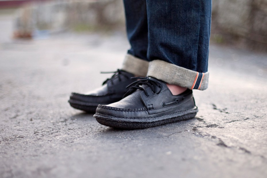 "Image of New England Outerwear Co. 3 Eye Boat Shoe ""Blacked Out"""