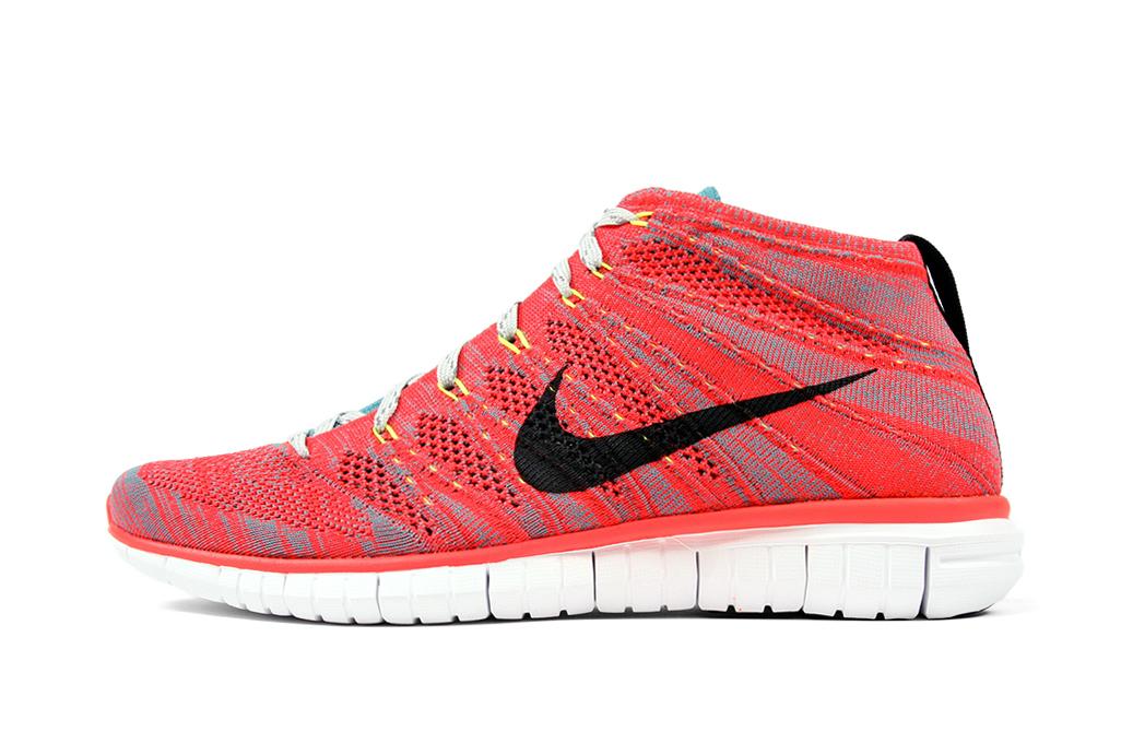 Image of Nike Free Flyknit Chukka Bright Crimson/Ash Grey-Mineral