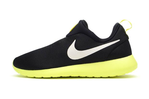 Image of Nike Roshe Run Slip On Black/Volt