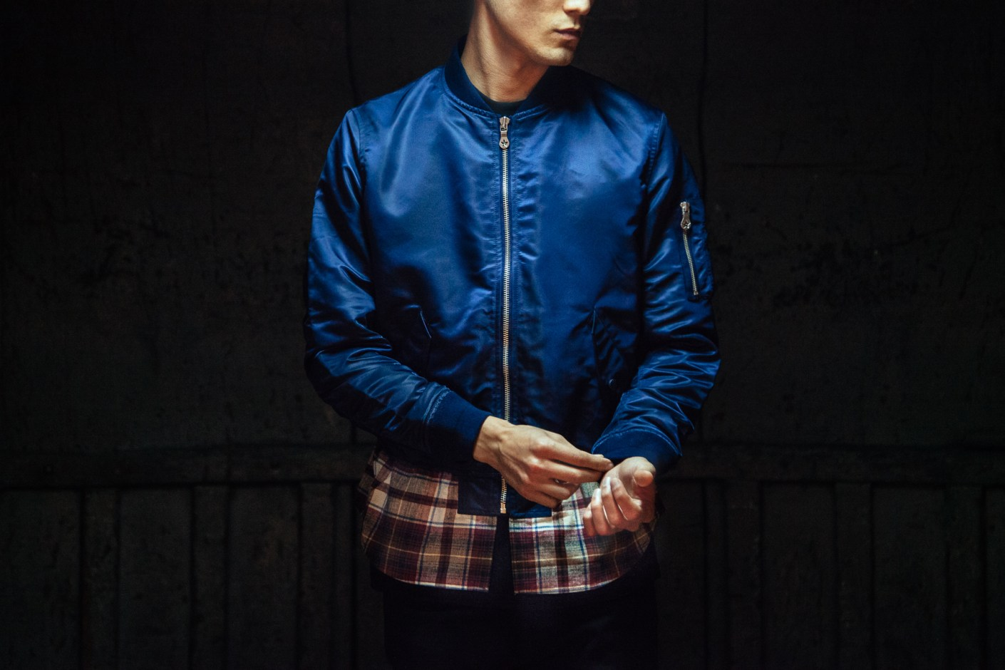 Image of Phenomenon 2014 Spring/Summer Flannel Panel Zip Bomber