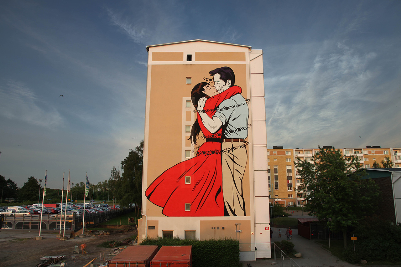 "Image of  D*Face ""Last Embrace Before Departure"" Mural @ ArtScape Festival Malmo"