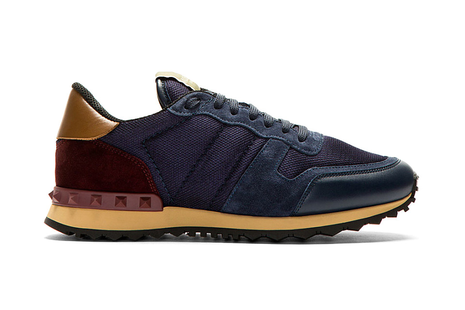 Image of Valentino 2014 Fall/Winter Navy Mesh and Leather Studded Sneakers