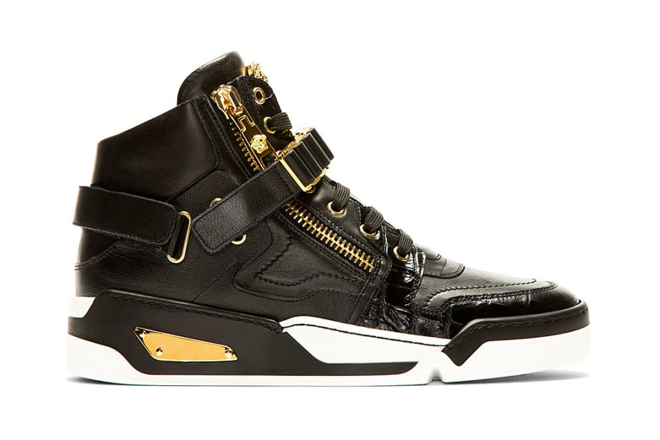 Image of Versace 2014 Summer Black Leather High-Top Sneakers