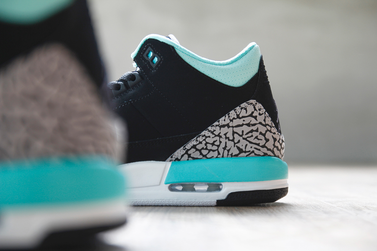Image of Air Jordan 3 Retro GS Black/Mint Green-Cement Grey