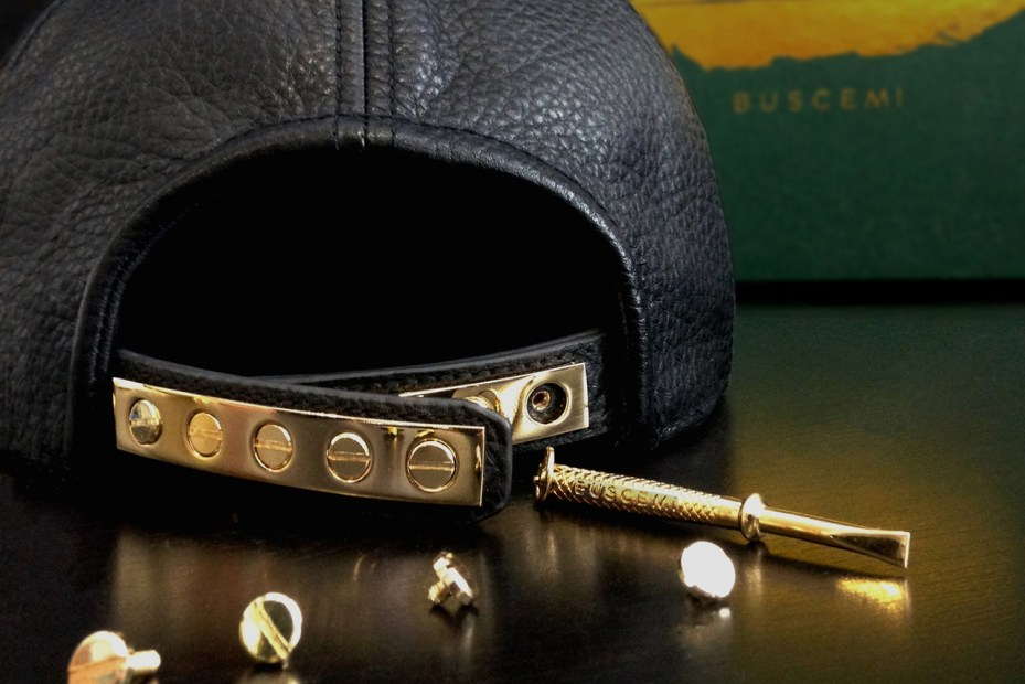 Image of Buscemi Leather and Gold Snapback