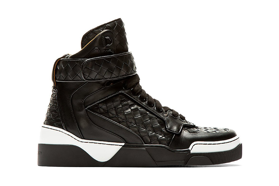 Image of Givenchy Tyson Black Basketwoven Leather High-Top