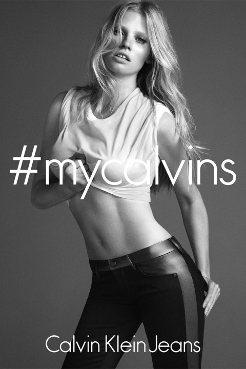 Image of Lara Stone by Mert & Marcus for the Calvin Klein 2014 Fall Campaign