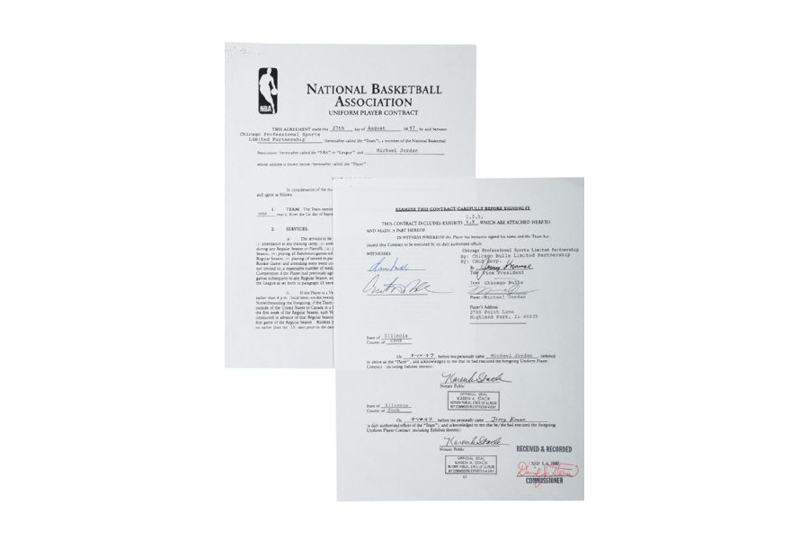 Image of Michael Jordan's Historic $33M Contract Up For Auction