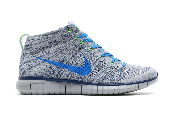 Image of Nike Free Flyknit Chukka Wolf Grey/Photo Blue-Brave Blue-Electric Green