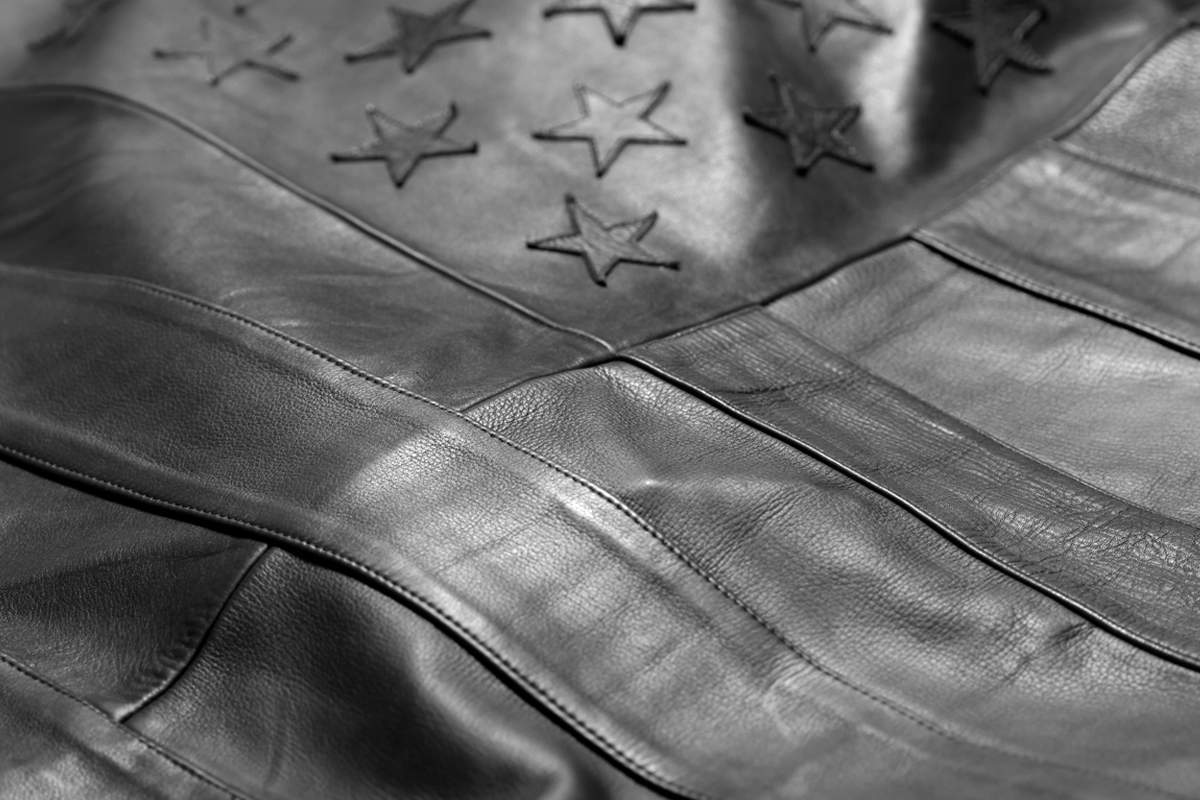 Image of Stampd Black Leather American Flag