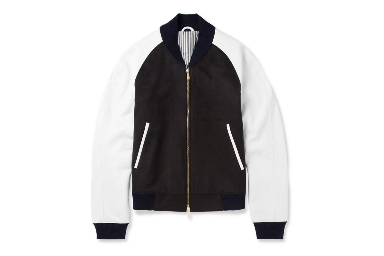 Image of Thom Browne Leather-Sleeved Cashmere Bomber Jacket