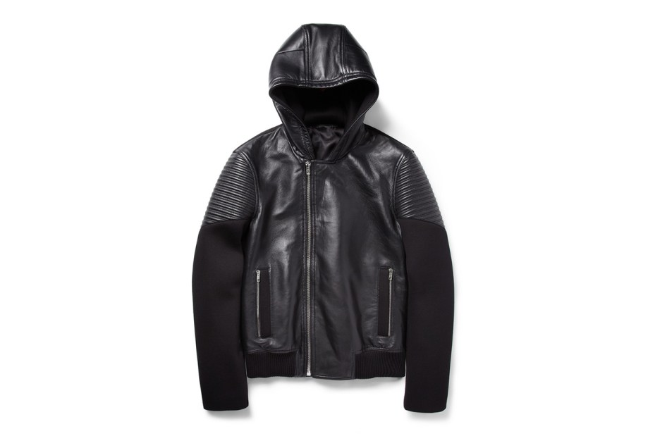 Image of Givenchy Hooded Leather and Neoprene Jacket